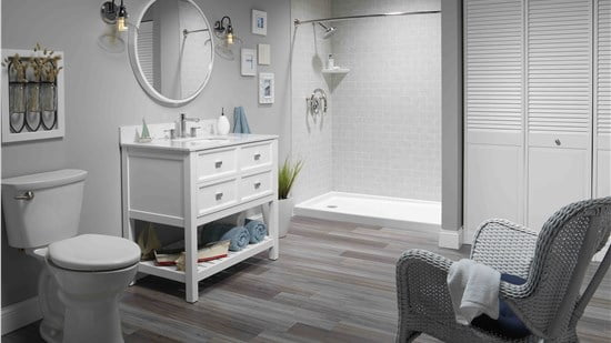 modern bathroom with white vanity and large walk in shower