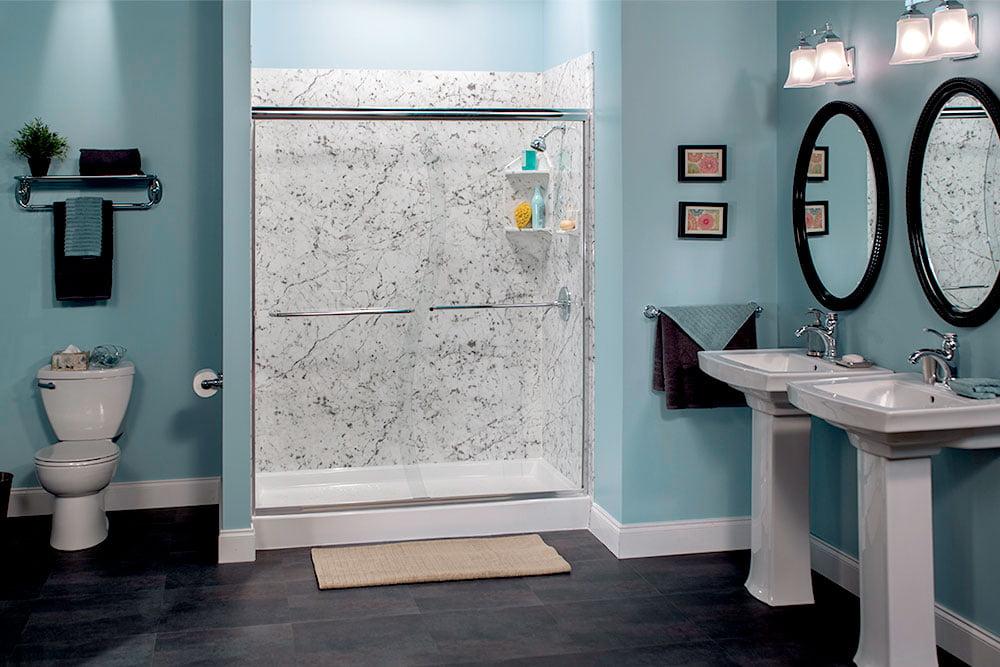 Aegean Teal Carrara Marble Shower