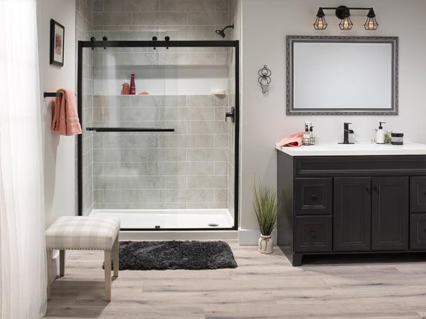 Concrete Walk-in Shower with Fairfield Pattern