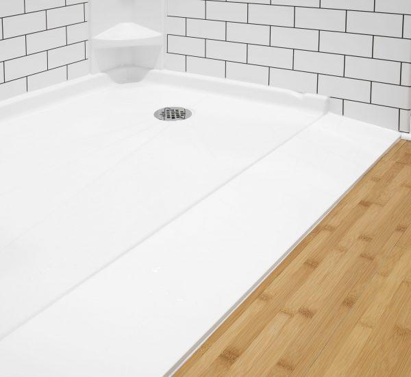 White barrier free shower base