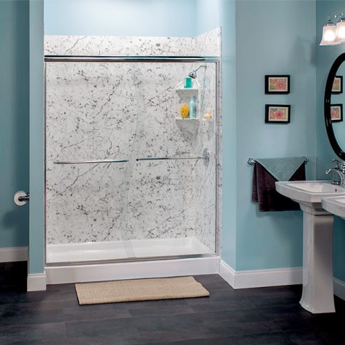 Aegean Teal Carrara Marble Shower