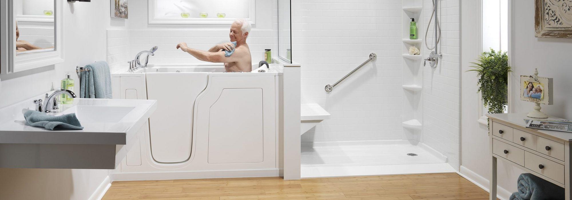 Walk-In Tub with man bathing