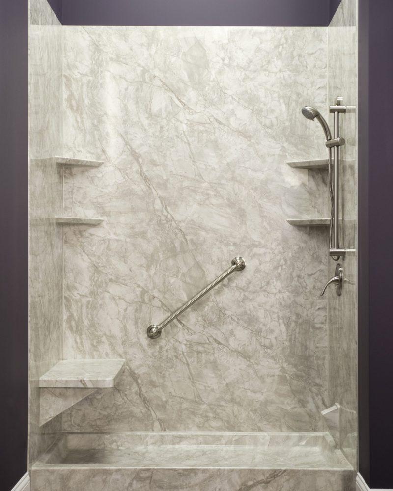 Brushed Nickel Hand-Held Shower on Pompeii Marble Shower