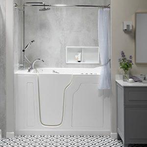 Walk-in tub with shower niche